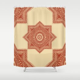 The Red Moroccan Pattern Shower Curtain