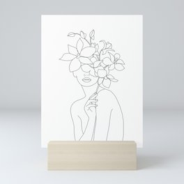 Minimal Line Art Woman with Orchids Mini Art Print