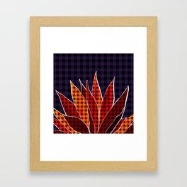 Agave Cactus Warm Autumn Plaid Framed Art Print