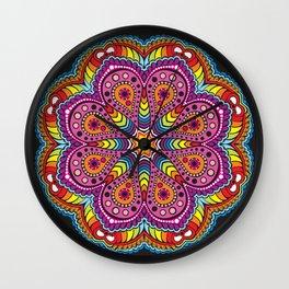 rastafarian mandala in rainbow colors Wall Clock