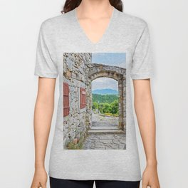 Town of Hum stone gate and street view Unisex V-Neck