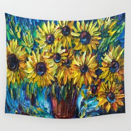 SUNFLOWERS — Palette knife Wall Tapestry