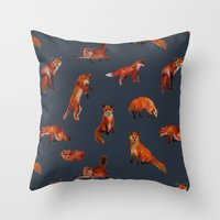 foxes Throw Pillows featuring Foxes by Katelyn Patton