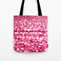 glitter Tote Bags featuring Bubblegum Pink Glitter Sparkles by Whimsy Romance & Fun