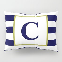 Monogram Letter C in Navy Blue and White Pillow Sham