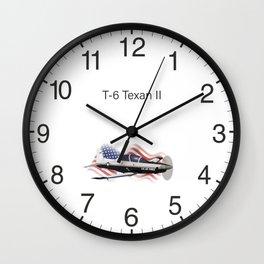 Patriotic T-6 Texan II Trainer Aircraft Wall Clock