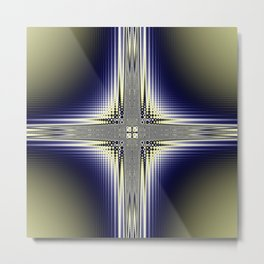 Fractal Cross Metal Print