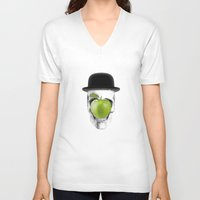 magritte V-neck T-shirts featuring Magritte Skull by HenryWine