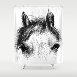 Horse animal head eyes ink drawing illustration. Mammal face portrait Shower Curtain