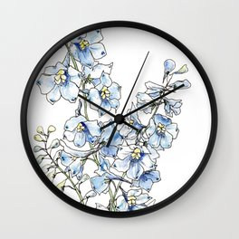 Blue Delphinium Flowers Wall Clock