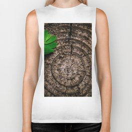 Green leaf Brown wood Biker Tank