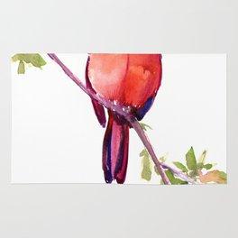 Cardinal Bird Vintage Style Red Cardinal design Rug