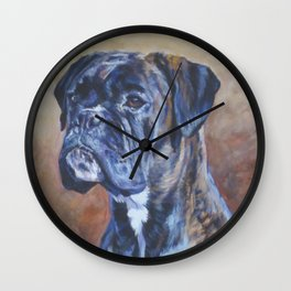 brindle BOXER dog art portrait from an original fine art painting by L.A.Shepard Wall Clock