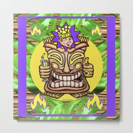 Happy Jester Tiki With Flames Metal Print