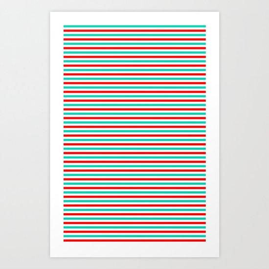 Red and Aqua Stripes Art Print