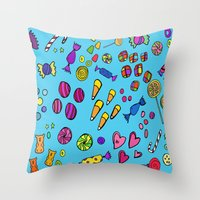 candy Throw Pillows featuring Candy by andy_panda_