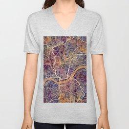 Cincinnati Ohio City Map Unisex V-Neck