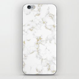 Fine Gold Marble Natural Stone Gold Metallic Veining White Quartz iPhone Skin