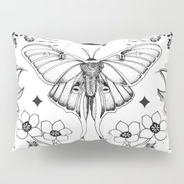 Bohemian Luna Moth On White Pillow Sham