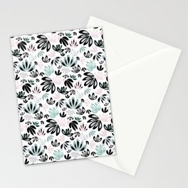 Floral Pattern in Grey, Mints and Black Stationery Cards