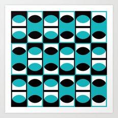 Lens pattern (turquoise) Art Print