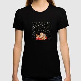 Santa Claus & Christmas Stars on the Night Sky T-shirt