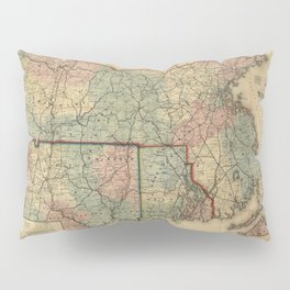 Vintage Massachusetts Railroad Map (1879) Pillow Sham