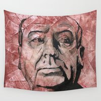 hitchcock Wall Tapestries featuring Hitchcock by Colunga-Art
