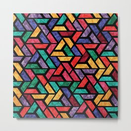 Seamless Colorful Geometric Pattern IX Metal Print