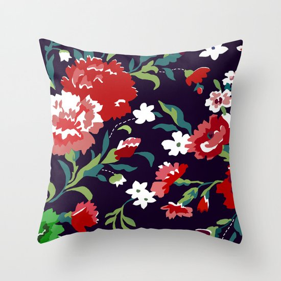 VAMPIRE WEEKEND FLORAL VECTOR Throw Pillow by Danielle Ebro Society6