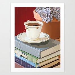 Teacup, Childhood Books, & Succulent Plant Art Print