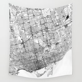 Toronto White Map Wall Tapestry