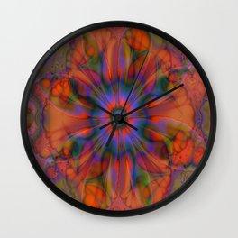 Sacred Geometry Art- Fractal Art- Delphinian- Orange Art- Flower- Energy Art- Purple Art Wall Clock