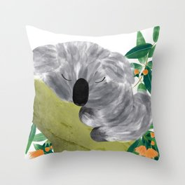 Sleepy Koala   Sweet Dreams   Orange Flowers Throw Pillow