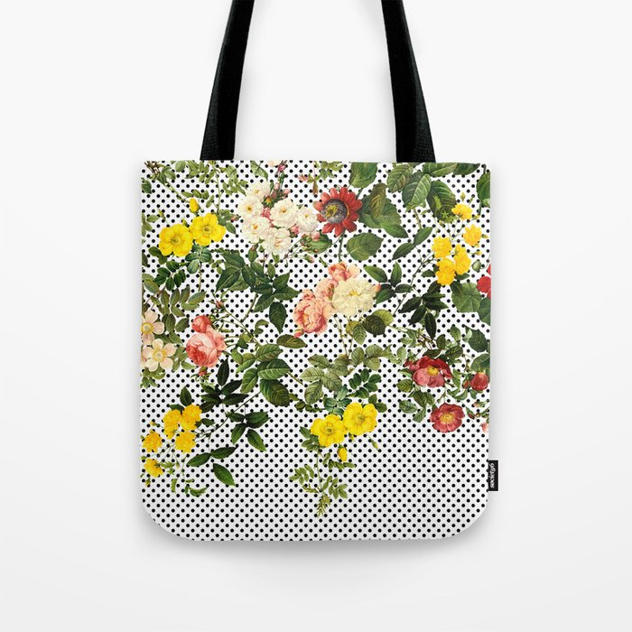 Points and Flowers Pattern Tote Bag