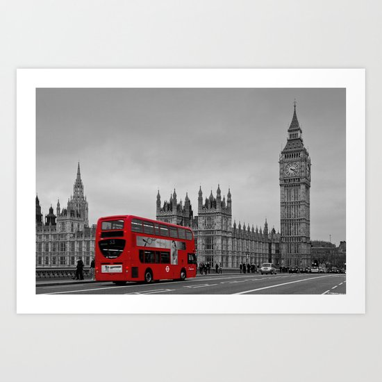 Black and White London with Red Bus Art Print