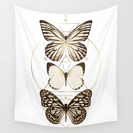 butterflies and gold geometry Wall Tapestry