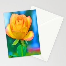 Yellow Rose with Turquoise Stationery Cards