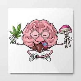 Trippy Psychedelic Brain Metal Print