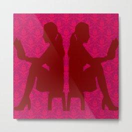 Ladies Love Reading: Red Floral Deco Metal Print