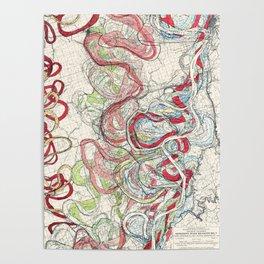 Vintage Map of the Mississippi River Poster