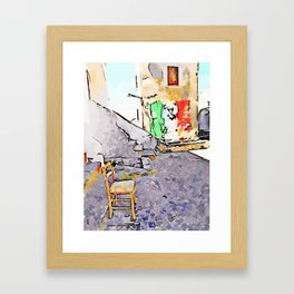 Tortora glimpse with chair and Italian flag painted on the wall of building Framed Art Print