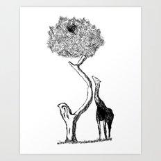 A Giraffe and His Dinner Art Print