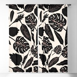 Monstera pattern in black and pastel Blackout Curtain