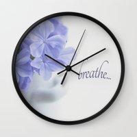 breathe Wall Clocks featuring Breathe by Kim Hojnacki Photography