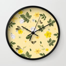 Yellow Flowers & White Roses 5 Wall Clock