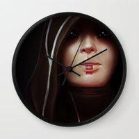 mass effect Wall Clocks featuring Mass Effect: Kasumi Goto by Ruthie Hammerschlag