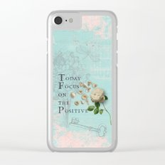 Positive - Quote with Rose Flower- Floral Collage and Wisdom on turquoise background on #Society6 Clear iPhone Case