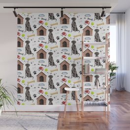 Labrador Retriever Black Half Drop Repeat Pattern Wall Mural