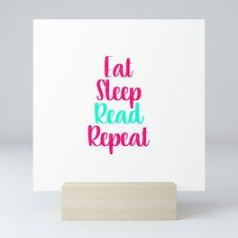 Eat Sleep Read School Library Quote Mini Art Print